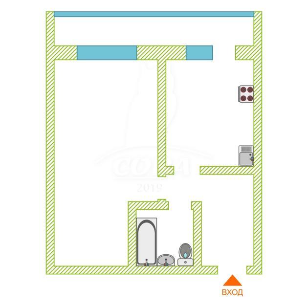 1 комнатная квартира  в районе ММС, ул. Мелиораторов, 1, г. Тюмень