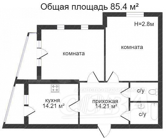 2 комнатная квартира  в районе ул.Малыгина, ул. Максима Горького, 90, г. Тюмень