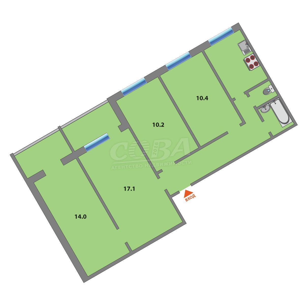 4 комнатная квартира  в Южном микрорайоне, ул. Самарцева, 34, г. Тюмень