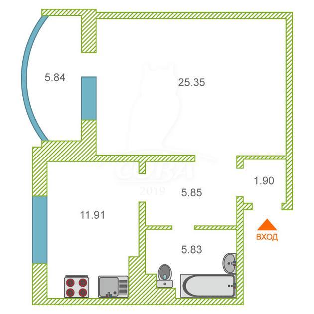 1 комнатная квартира  в районе Нагорный Тобольск, ул. 4-й микрорайон, 36, г. Тобольск