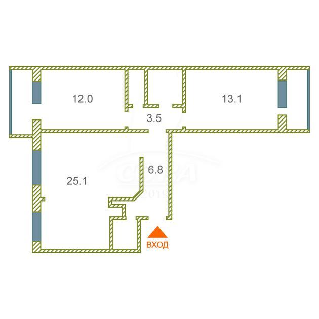 3 комнатная квартира  в районе Лесобаза, ул. Домостроителей, 2, г. Тюмень