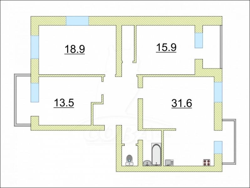 4 комнатная квартира  в районе ул.Малыгина, ул. Шиллера, 46, г. Тюмень