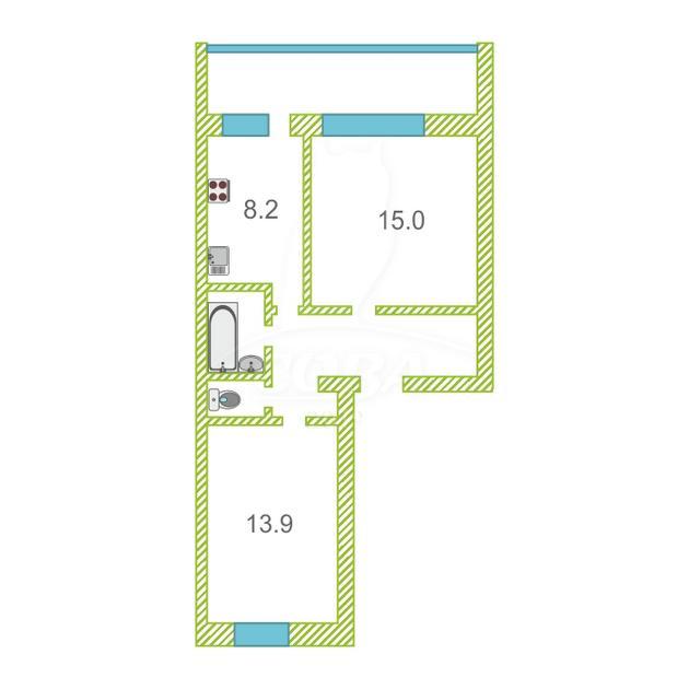 2 комнатная квартира  в районе Матмасы, ул. Пражская, 23, г. Тюмень