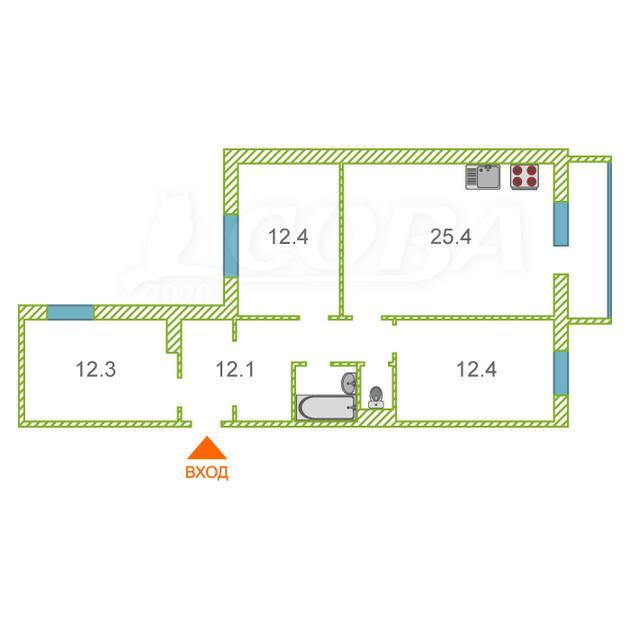 3 комнатная квартира  в районе Нагорный Тобольск, ул. Северная 4-я, 8, г. Тобольск