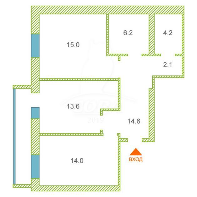 2 комнатная квартира  в Тюменском-4 мкрн., ул. Николая Федорова, 30, Квартал «Орион» (6 Квартал), г. Тюмень