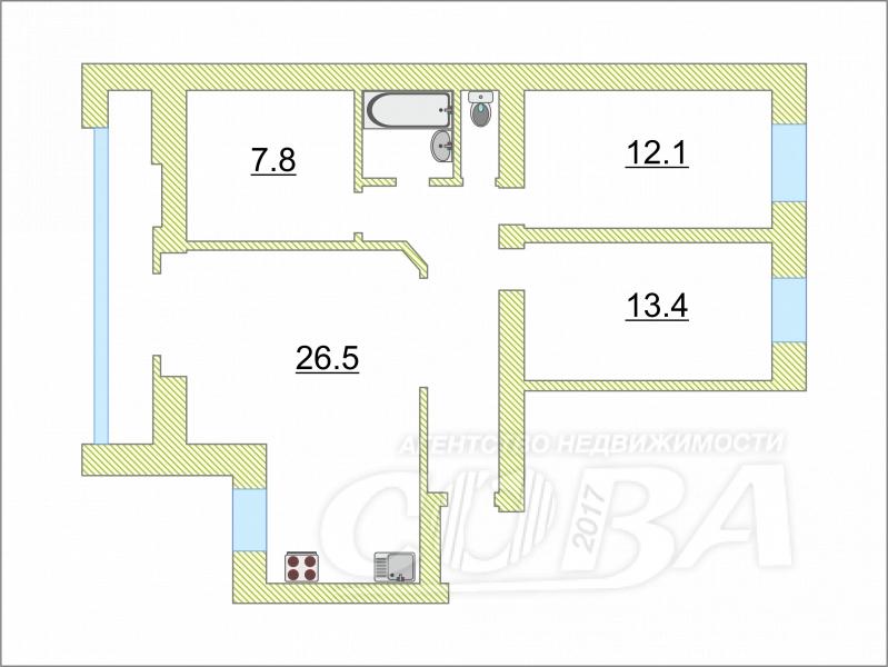 4 комнатная квартира  в районе Драмтеатра, ул. Максима Горького, 59, г. Тюмень