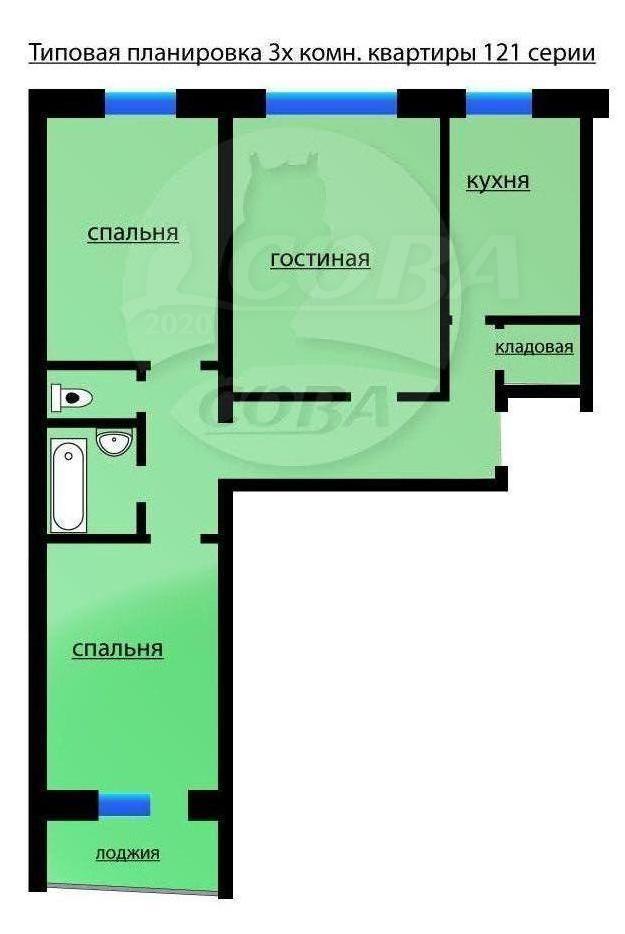 3 комнатная квартира  в Заречном мкрн., ул. Щербакова, 86А, г. Тюмень