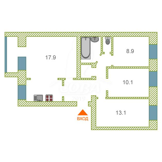 4 комнатная квартира  в районе Дом Обороны, ул. Садовая, 121Б, г. Тюмень