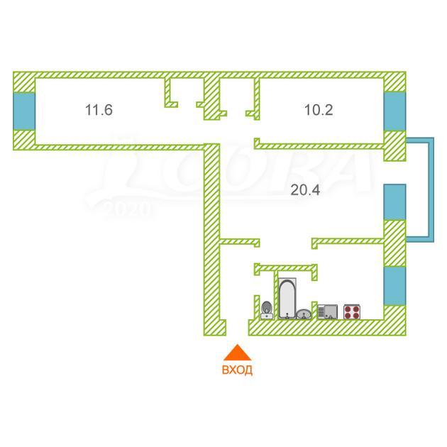 3 комнатная квартира  в районе Выставочного зала, ул. Энергетиков, 50, г. Тюмень