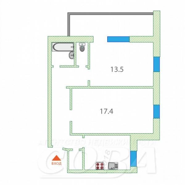 2 комнатная квартира  в Заречном 2 мкрн., ул. Солнечный проезд, 14, г. Тюмень