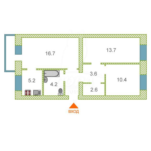 3 комнатная квартира  в районе Дом Обороны, ул. Луначарского, 51, г. Тюмень