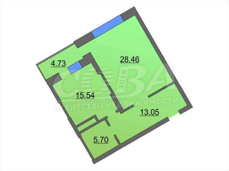 1 комнатная квартира  в районе ТЦ «Премьер», ул. Малыгина, 90, Жилой комплекс «Паруса», г. Тюмень