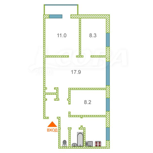 4 комнатная квартира  в районе Центральная часть, ул. Озерная, 5, п. Московский