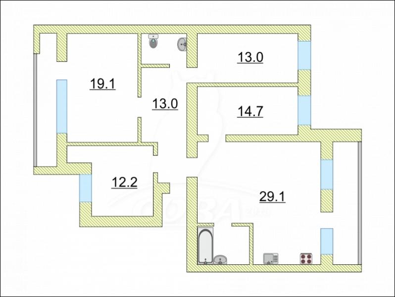 4 комнатная квартира  в Южном микрорайоне, ул. Федюнинского, 19, г. Тюмень