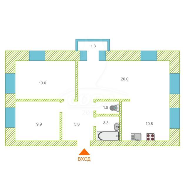 3 комнатная квартира  в районе Нагорный Тобольск, ул. Октябрьская, 19А, ЖК «Ремезовский дворик», г. Тобольск