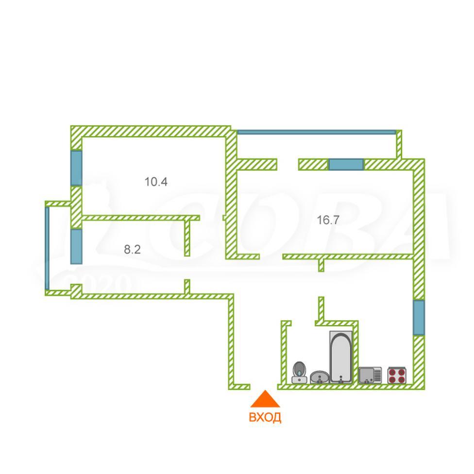 3 комнатная квартира  в районе пос. Утешево, ул. Анатолия Замкова, 6, г. Тюмень