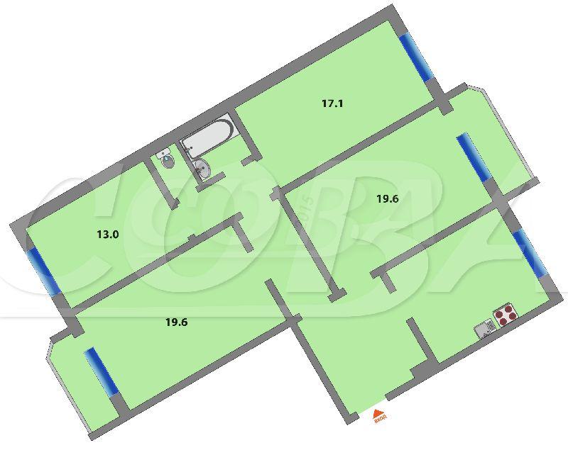 4 комнатная квартира  в Восточном мкрн., ул. Народная, 2, г. Тюмень