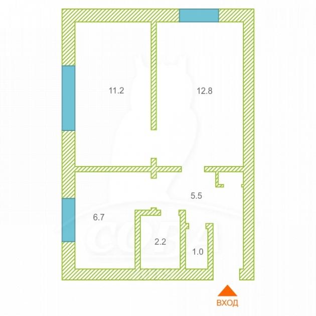 2 комнатная квартира , ул. Калинина, 2, с. Шорохово