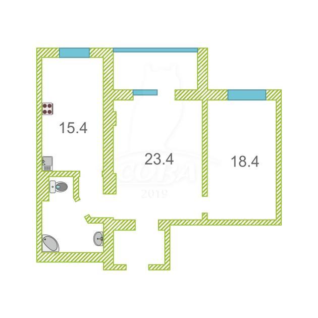 2 комнатная квартира  в районе Южный 2/ Чаплина, ул. Демьяна Бедного, 83/1, г. Тюмень