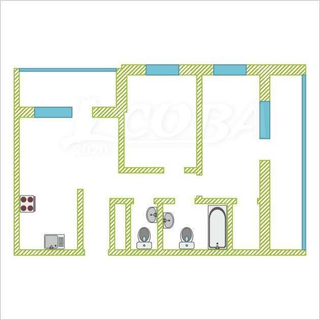 2 комнатная квартира  на КПД в районе 50 лет Октября, ул. 50 лет Октября, 57Б, Жилой квартал «Новин», г. Тюмень