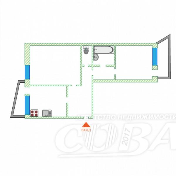 2 комнатная квартира  в районе УБР, ул. Профсоюзов, 14, г. Сургут