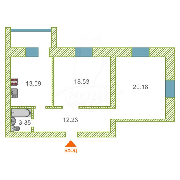2 комнатная квартира  в центре, ул. Вокзальная, 78, п. Винзили