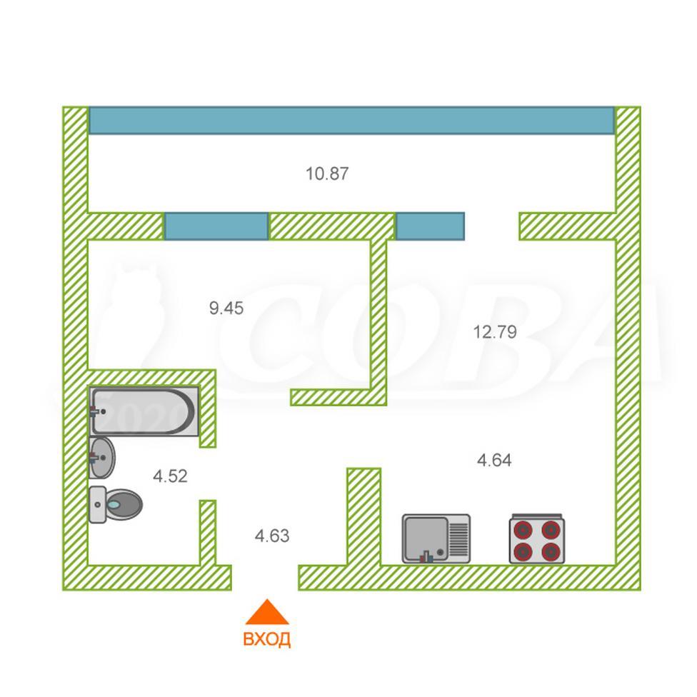 1 комнатная квартира  в Европейском мкрн., ул. Газовиков, 77, ЖК «Европейский берег», г. Тюмень