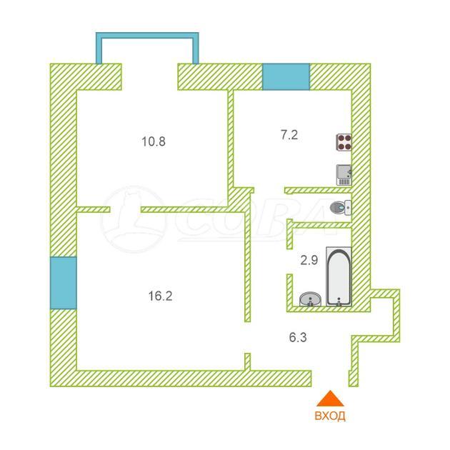 2 комнатная квартира  в районе центральная часть, ул. Ленинградская, 11, п. Боровский