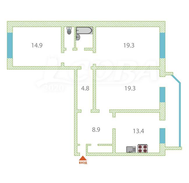 3 комнатная квартира , ул. Водозабор, 10, п. Карагандинский