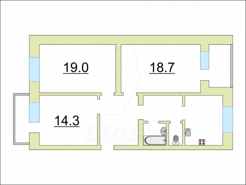 3 комнатная квартира  в районе Технопарка, ул. Котовского, 17, г. Тюмень