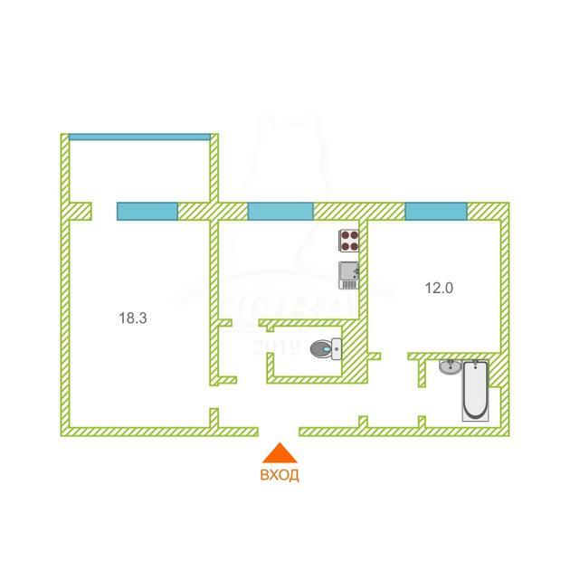 2 комнатная квартира  в районе Мыс, ул. Пражская, 47, г. Тюмень