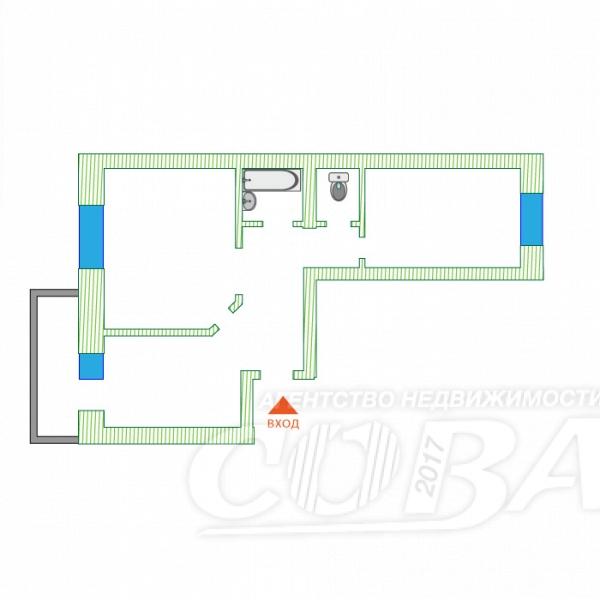 2 комнатная квартира  в Южном микрорайоне, ул. Самарцева, 30, г. Тюмень