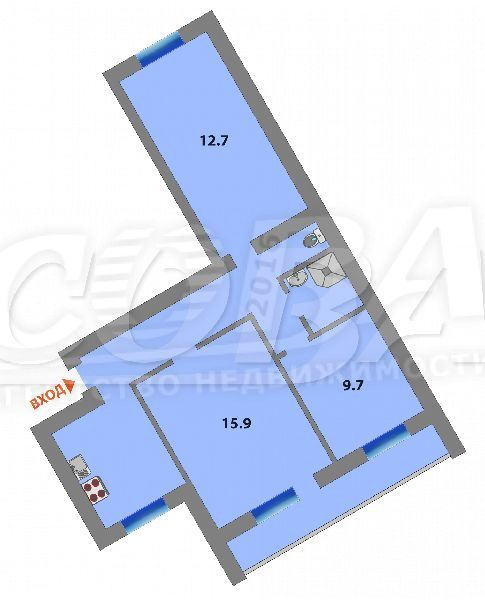 3 комнатная квартира  в районе Дома печати, ул. Циолковского, 15, г. Тюмень