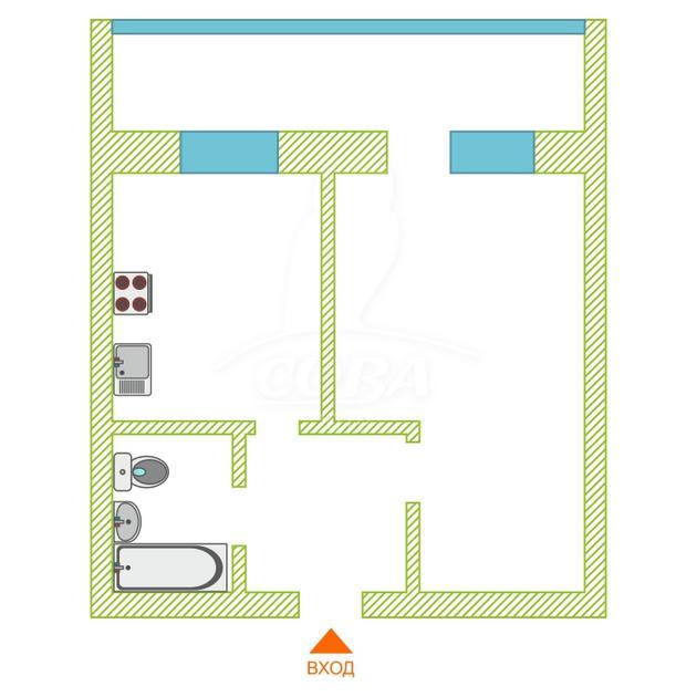 1 комнатная квартира  в районе Нефтяник, ул. Избышева, 8, Жилой квартал «Нефтяник», г. Тюмень