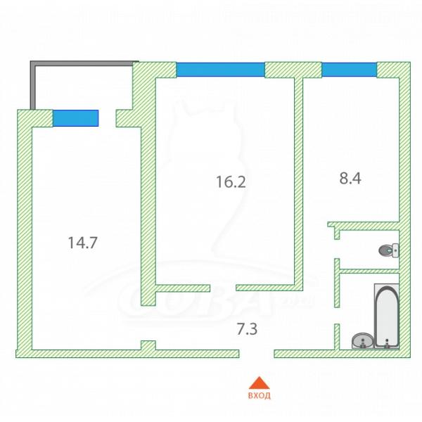 2 комнатная квартира  в районе Лесобаза (Тура), ул. Западносибирская, 14, ЖК «Скандиа» - квартал у озера, г. Тюмень