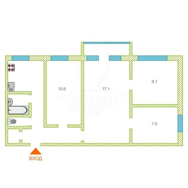 4 комнатная квартира  в районе КПД (Геологоразведчиков), ул. проезд Геологоразведчиков, 32, г. Тюмень