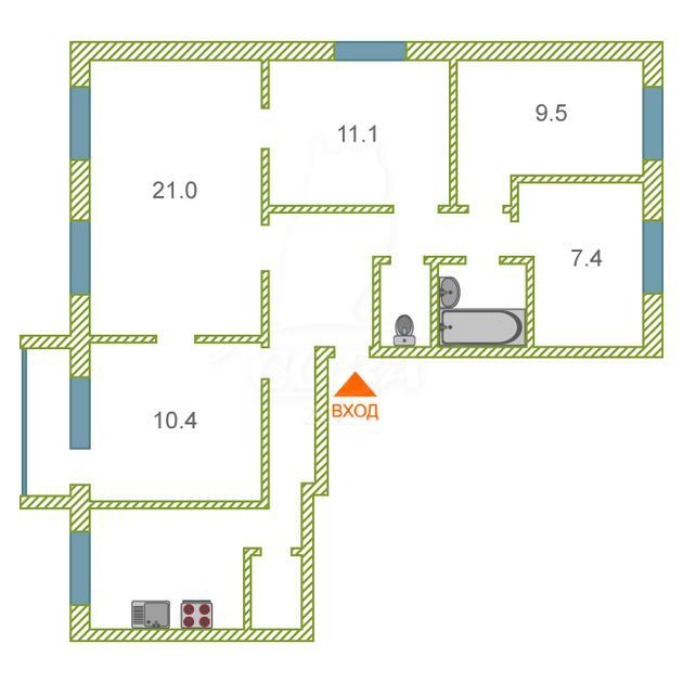 Многокомнатн. квартира  в районе Дом Обороны, ул. Белинского, 7, г. Тюмень