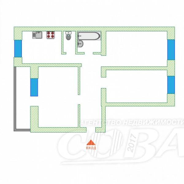 3 комнатная квартира  в районе Дома печати, ул. Профсоюзная, 32, г. Тюмень