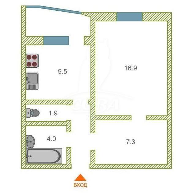 1 комнатная квартира  в Восточном 3 мкрн., ул. Широтная, 192/2, Жилой комплекс «Малахово», г. Тюмень