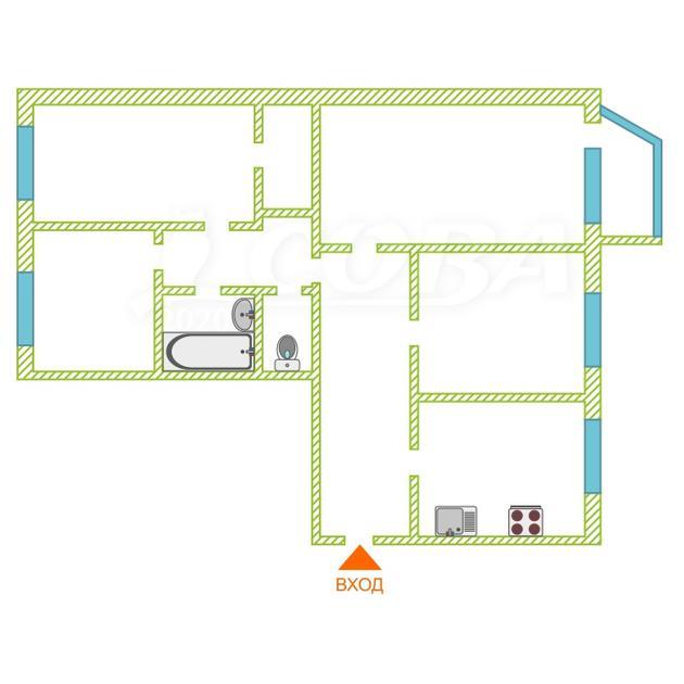 4 комнатная квартира  в районе Центральный, ул. Студенческая, 21, г. Сургут