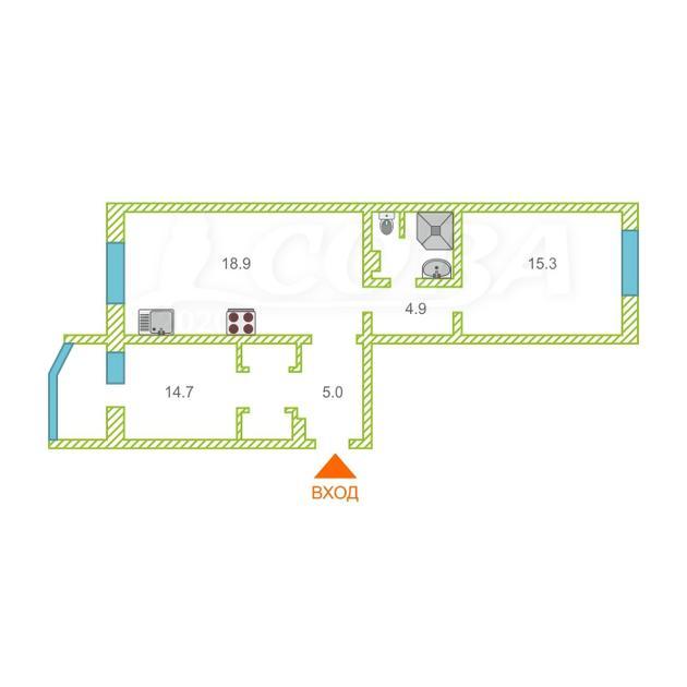 2 комнатная квартира  в районе ТЦ Богатырь, ул. Университетская, 39, г. Сургут
