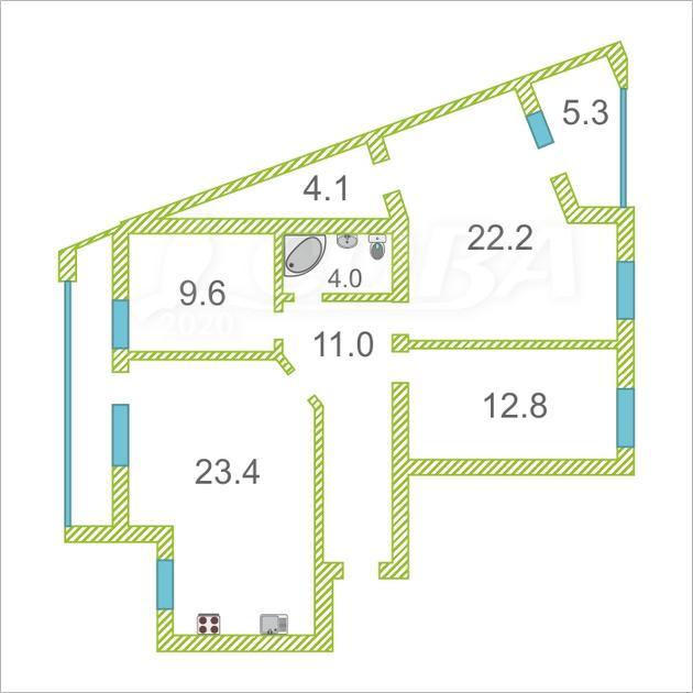 3 комнатная квартира  в районе МЖК, ул. Широтная, 148/1, г. Тюмень