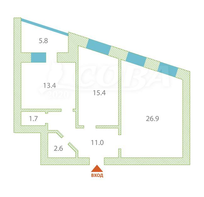 2 комнатная квартира  в районе Дом Обороны, ул. Клары Цеткин, 61/2, Жилой дом на К. Цеткин, г. Тюмень