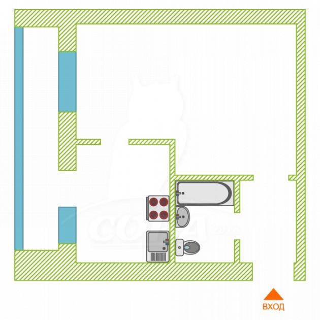 1 комнатная квартира  в районе Лесобаза, ул. Судостроителей, 71, г. Тюмень