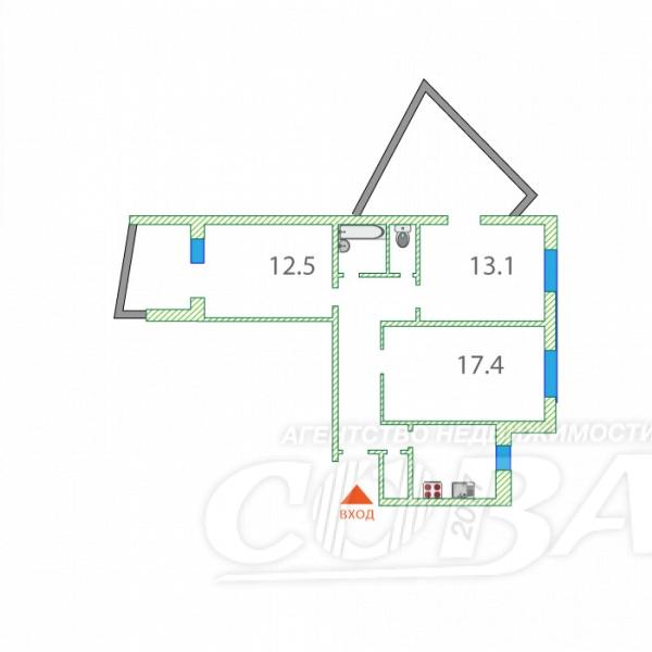 3 комнатная квартира  в Восточном мкрн., ул. Монтажников, 17, г. Тюмень