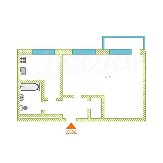 1 комнатная квартира  в 2 микрорайоне, ул. Ткацкий проезд, 20, г. Тюмень