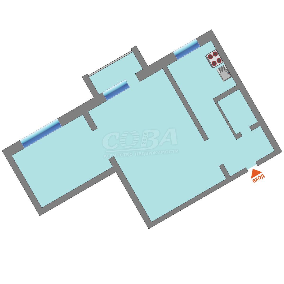 2 комнатная квартира  в районе Технопарка, ул. 50 лет ВЛКСМ, 69, г. Тюмень