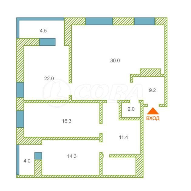 3 комнатная квартира  в Тюменском-2 мкрн., ул. Суходольская, 18, г. Тюмень