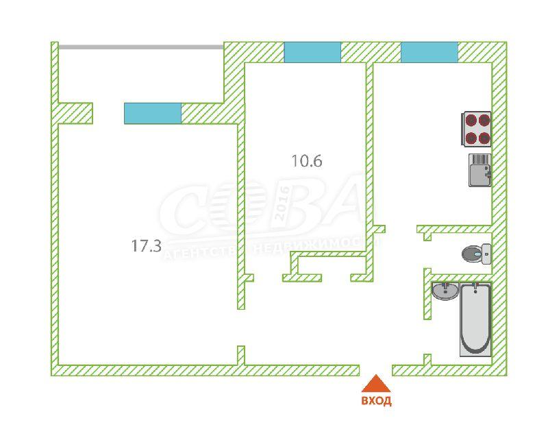 2 комнатная квартира  в районе Червишевского тр., ул. Червишевский тракт, 94, г. Тюмень
