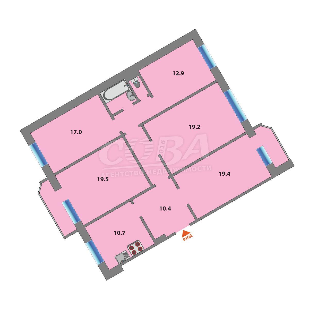Многокомнатн. квартира  в районе Московского тр., ул. Московский тракт, 163, г. Тюмень